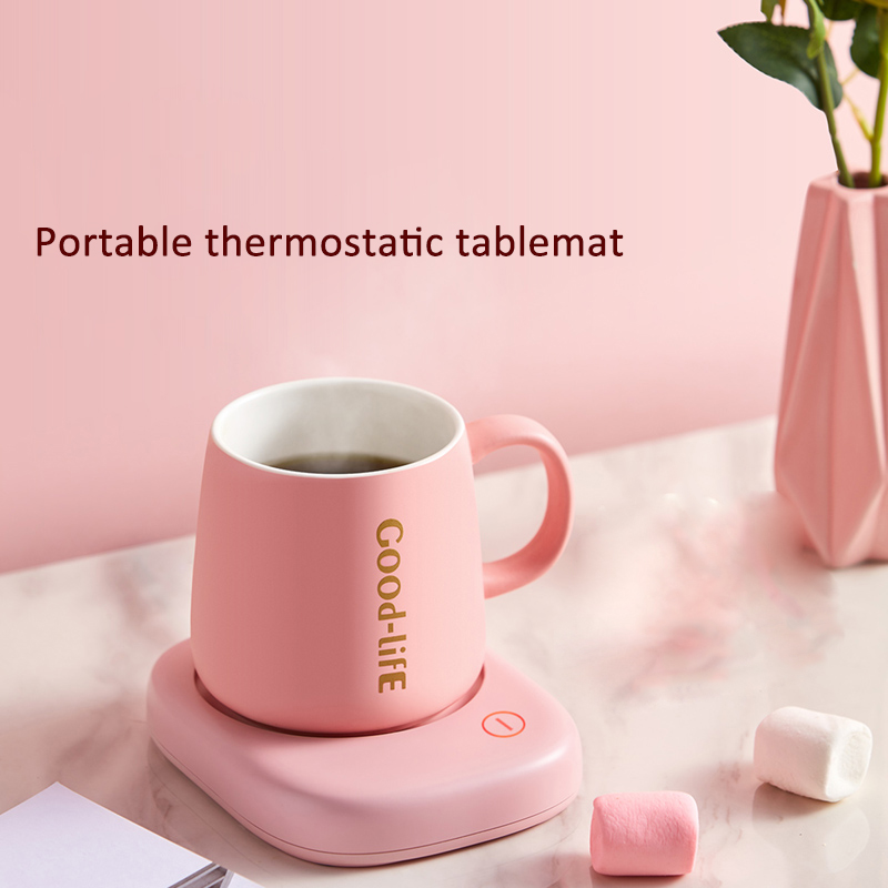 220V Cup Heater Mini Portable Thermostatic Tablemat Heating Coaster Mat Electric Hot Tea Makers Desktop Heater Hot Milk Machine