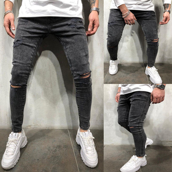 Mens Stretch Destroyed Jeans Fashion Skinny Ripped Design Jeans For Men Brand New Hip Hop Denim Trousers Male Pencil Pants 3XL stretch ripped cropped pants men 2020 brand new mens destroyed skinny denim trousers foot zipper hip hop pencil jeans for men