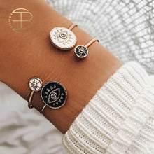2020 New Vintage Open Bracelet Enamel Black White Evil Eye Gold Bangles Bracelets For Women Fashion Female Bracelet Jewelry(China)
