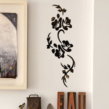 3D Mirror Flowers Arts Acrylic Mural Decal Removable Wall Sticker Room Decor DIY(China)