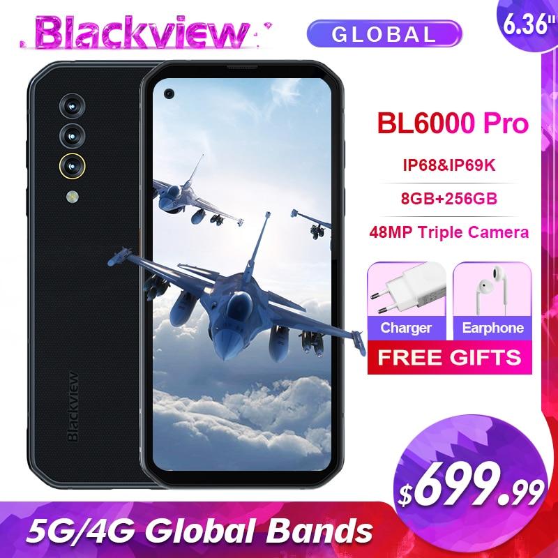 Blackview BL6000 Pro 5G IP68 wodoodporny 8GB + 256GB Smartphone 48MP potrójny aparat 6.36 Android 10.0 Octa Core 5G globalne zespoły 52