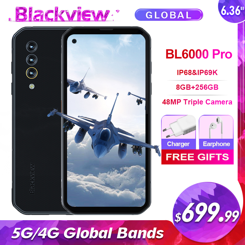 Blackview bl6000 pro 5g ip68 impermeável 8gb + 256gb smartphone 48mp triplo câmera 6.36 android android android 10.0 octa núcleo 5g bandas globais 52