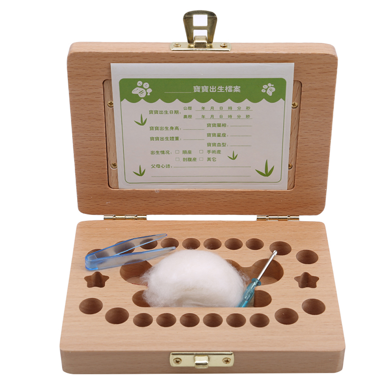 Milk Teeth Storage Wooden Photo Frame Fetal Hair Deciduous Tooth Box Organizer Umbilical Lanugo Save Collect Baby Souvenirs Gift