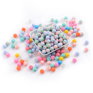 Image 2 - LOFCA Silicone Beads 12mm 200pcs Tie Dye Silicone Teething Beads Food Grade Silicone Baby Pacifier Necklace Pendant Making