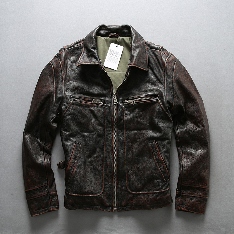 AVIREXFLY 2020 New Men Vintage Brown Cow Genuine Leatehr Jacket Casual Cowhide Riding Jackets Top Motorcycle Winter Coats