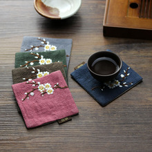 Heat insulation Non-Slip Table Mat Cotton embroidery Placemat Fabric flower Pad Coaster Silk Cup quality Kitchen Accessories