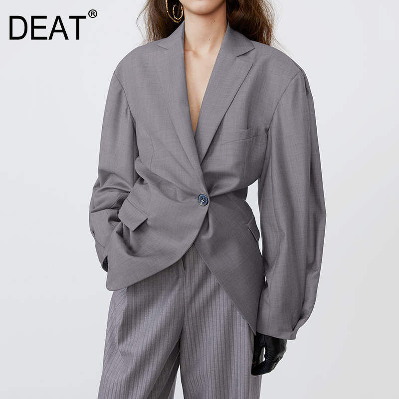 DEAT 2020 Notched Full Sleeves Gray Color Single Button High Waist Slim Female And Mela Blazer Fashion Top WM27502L
