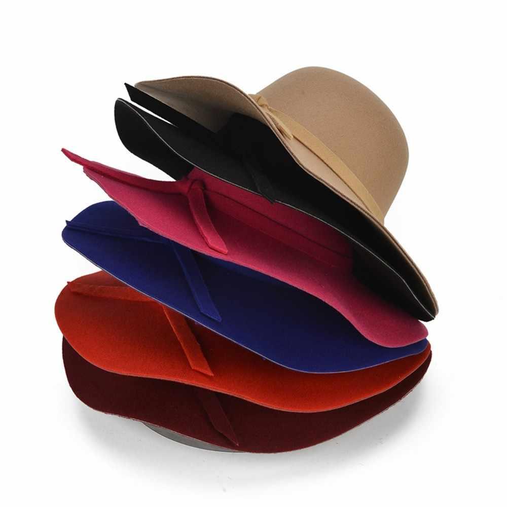 2019-nCoV Solid Fashion Wanita Topi Floppy Topi Tabir Surya Wol Merasa Bowler Topi Pantai Topi Matahari Musim Panas Gorros Hombre # ZD