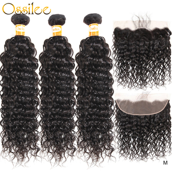 Ossilee Water Wave Bundles With Frontal Human Hair Bundles With Closure Brazilian Hair Weave Bundles Remy Middle Ratio