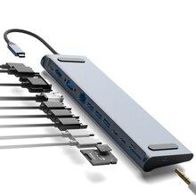 S SKYEE 12 в 1 концентратор USB Type C к HDMI RJ45 мульти USB3.0 Мощность адаптер для MacBook Pro Air док-станция для 3 Порты и разъёмы концентратор разделен