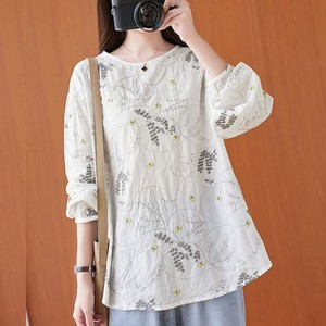 Oversized Women Autumn Cotton Linen Blouse Shirt New 2020 Simple Style Vintage Floral Embroidery Female Loose Casual Tops S1698
