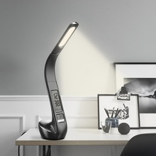 Leather Cover LED Desk Lamp Eyecaring Table Lamps Dimmable Office Touch Switch 3 Levels Brightnes LCD Display Reading