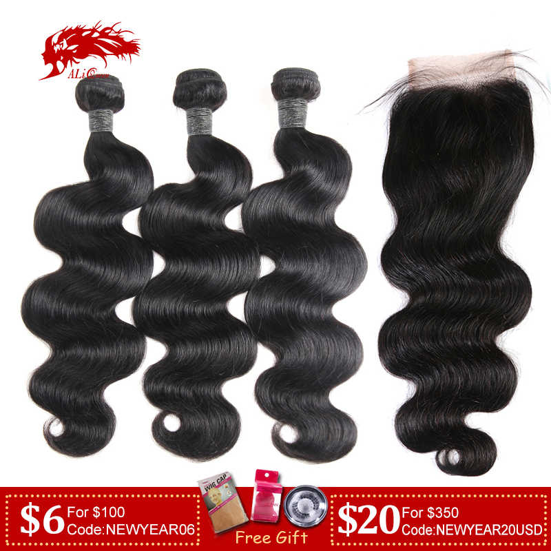 Ali Queen Hair 3/4Pcs Peruvian Body Wave Remy Hair Bundles With Closure Free Part Bundles With HD Transparent Lace Closure