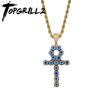 TOPGRILLZ Newest Iced Zircon Turkey Blue Eyes Ankh Cross Pendant Copper CZ Egyptian Key of Life Necklace Hip Hop Jewelry