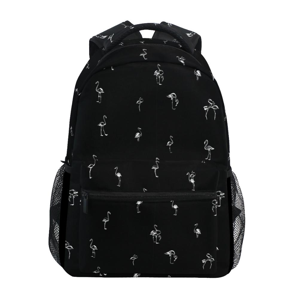 ALAZA New Backpacks Men School Bags Black Flamingo Prints Boys Fashion Backpack Student Black Schoolbags Book Bag Leisure Bag