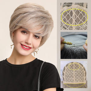 EMMOR Wigs Hair-Wig Lace-Front Synthetic 50%Human-Hair-Blend Women Short with Natural-Hairline