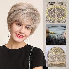 Emmor perucas sintéticas da parte dianteira do laço 6 Polegada 50% mistura de cabelo humano pixie corte peruca de cabelo curto com linha fina natural para as mulheres 4 cores