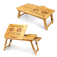 Bamboo Portable Folding Laptop Table Sofa Bed Office Laptop Stand Desk With Cooling Fan Bed Table For Computer Notebook Books