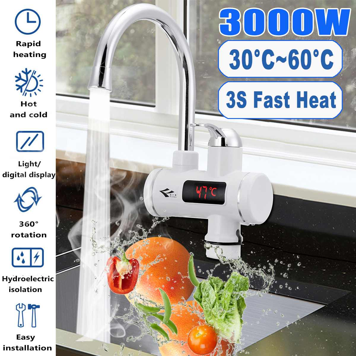 3000W 220V Temperature Display Instant Hot Water Tap Tankless Electric Faucet Kitchen Instant Hot Faucet Water Heater Water Heat
