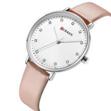 CURREN Ladies Watch 2019 Classic Luxury Rhinestone Female Clock Genuine Leather Band Wristwatch Casual Women Romantic Gift