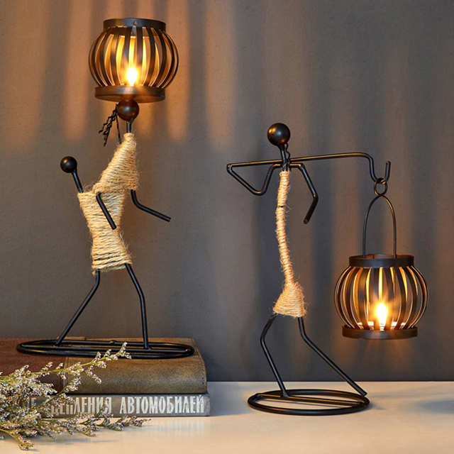 Vintage Candle Holders Home Decoration Metal People Model Candelabros Decorative Creative Candlestick Party Wedding Centerpieces 2