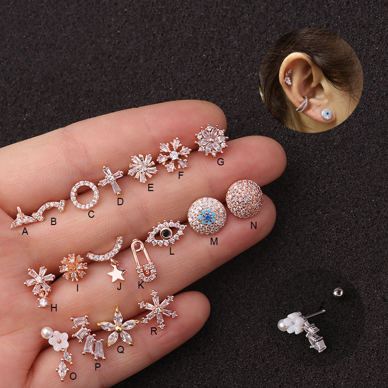 Feelgood 1Pc Delicate 20g Stainless Steel Ear Piercing Jewelry Cz Ear Tragus Conch Rook Lobe Cartilage Helix Earring Stud