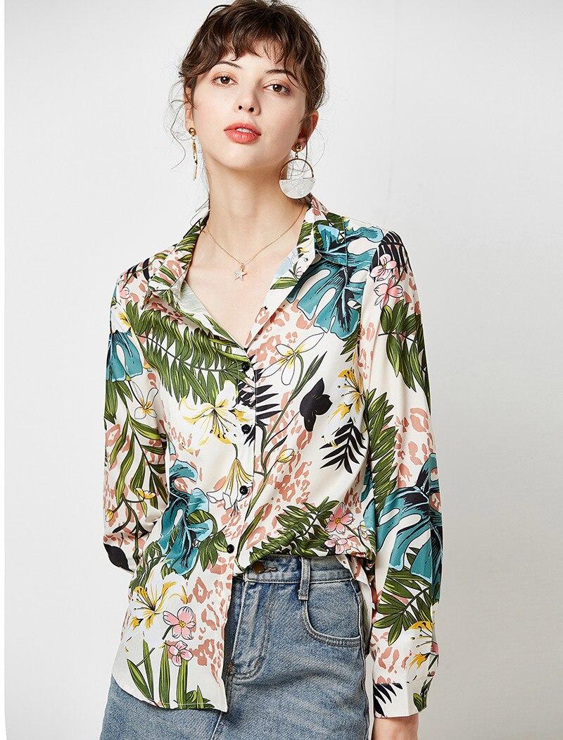 Women Blouses 19 Vintage Floral Print Long Sleeve Elegant Blouse Turn Down Collar Casual Loose Office Shirt Plus Size Blusas 11