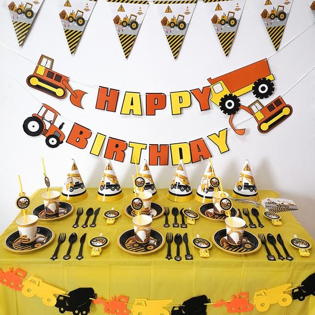 Budowlane artykuły na przyjęcie urodzinowe pojazd ciężarówka Banner zestaw balonów dla dzieci Boy party strażak strażak Party DIY Decoration