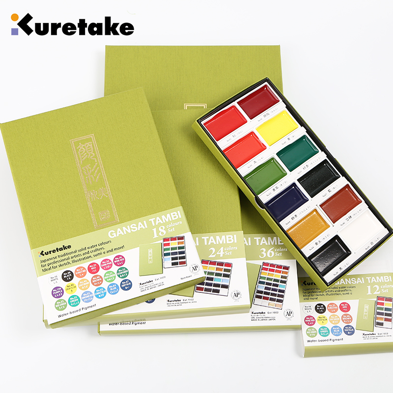ZIG Kuretake 12/18/24/36/48 Colors Solid Watercolor Paint Set  Watercolors Field Sketch Set For Painting Supplies