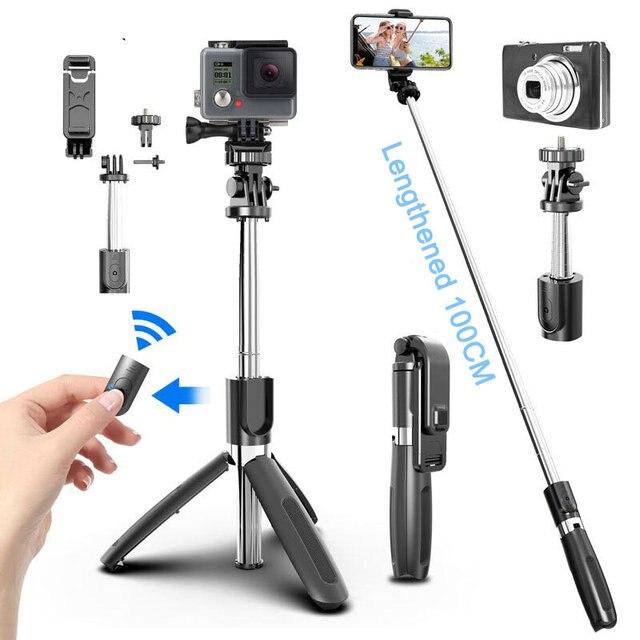 4 In1 Bluetooth אלחוטי Selfie מקל חצובה מתקפל & Monopods אוניברסלי עבור טלפונים חכמים עבור Gopro פעולת ספורט מצלמות