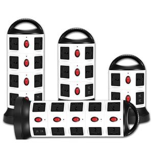 Image 2 - Удлинитель вертикальный с защитой от перенапряжения, с несколькими розетками, 3/7/11/15/19, универсальные розетки с выключателем USB, удлинитель 3 м