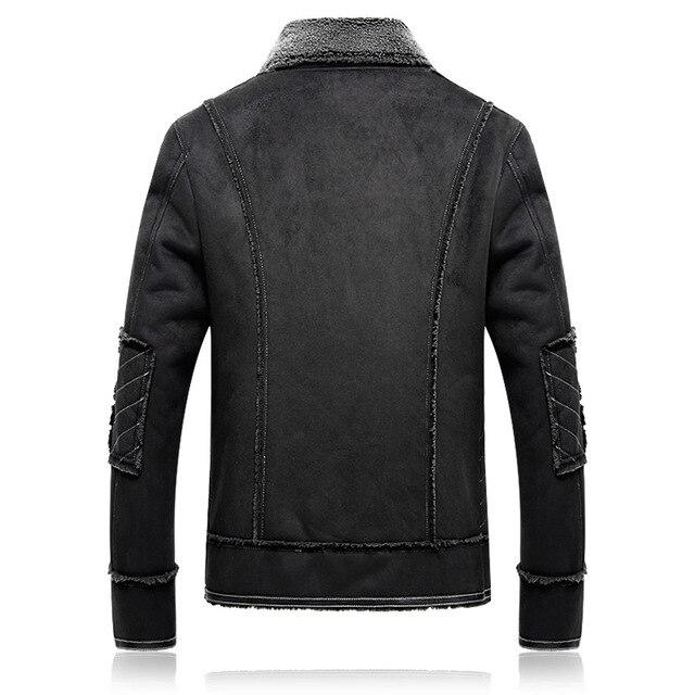 Plus size 5XL Winter Thick Leather Coat Men Casual flocking Leather Jacket Men's Warm Motorcycle leather Jackets Coats Black - 2