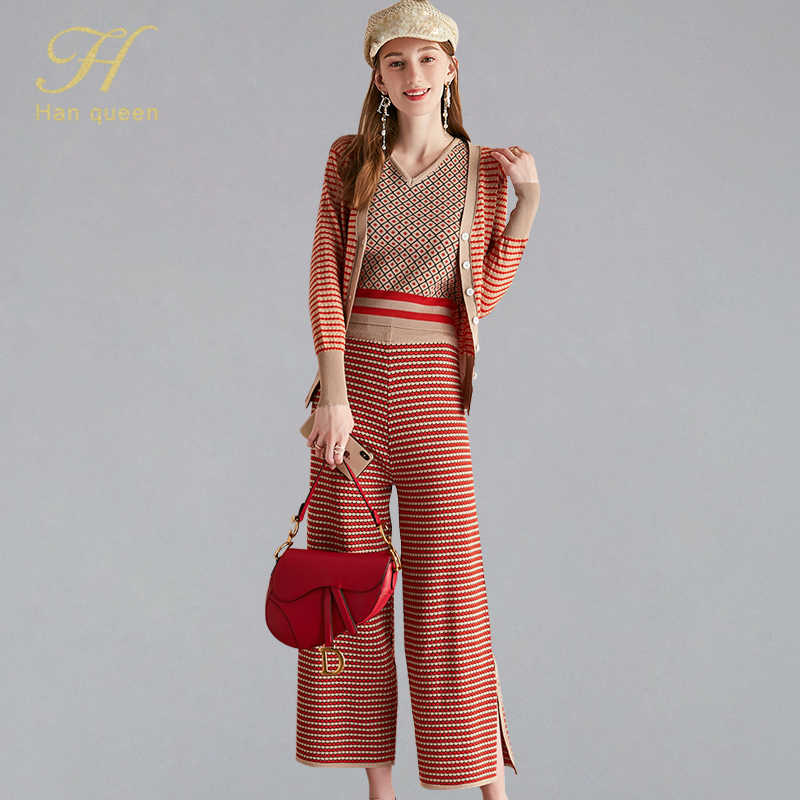 H Han Queen Fashion Knitted Striped Cardigans And V-neck Plaid Vest & Wide Leg Long Pants Women 2019 Autumn 3 Pieces Casual Set