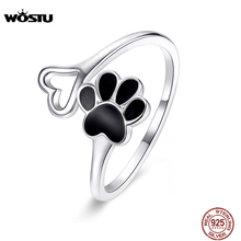 WOSTU 925 Sterling Silver Paw Dog Footprint Heart Rings Black Enamel Adjustable Ring Finger For Women Fashion 925 Jewelry CQR584