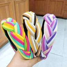 multicolor Braid Hairband Women Fabric Knotted Headband Vintage Twist Turban Hair Accessories Fixed Wide Hair Band Boho Headwear(China)