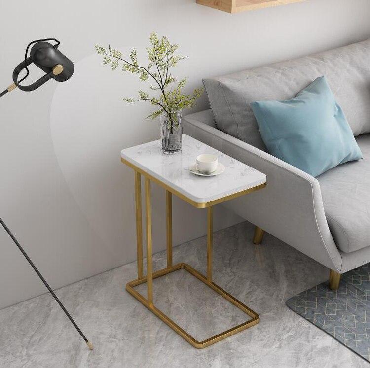 Nordic Marble Small Coffee Table Mesa De Centro Simple Modern Living Room Iron Sofa Side Creative Bedside Table Mini Table