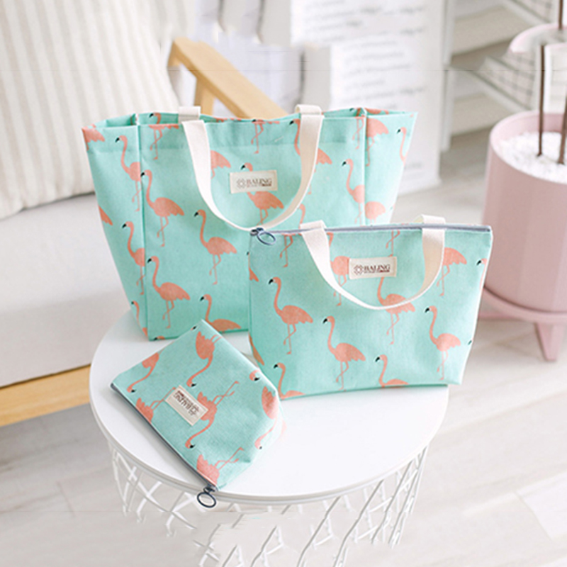 Women Cosmetic Bag For Cosmetic Toiletry Kit Female Makeup Travel Organizer Flamingo Pattern Makeup Bag Small Purse Hand Bag