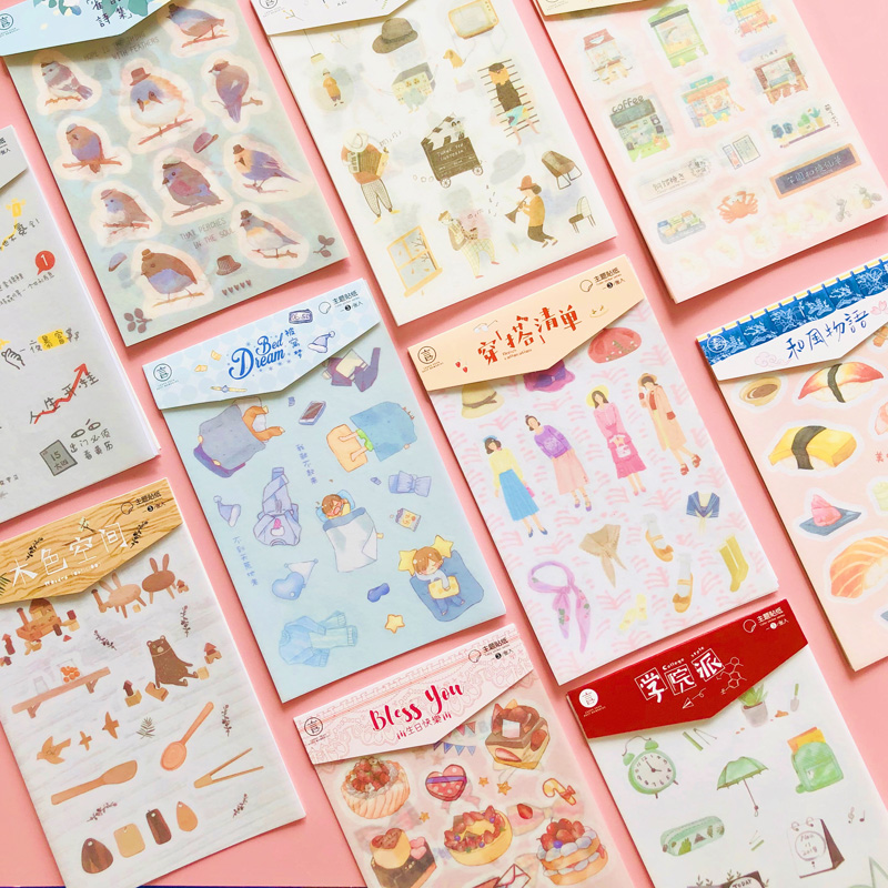 10 Style To Choose 3 Sheets /Bag Fresh Watercolor DIY Washi Paper Decorative Adhesive Stickers