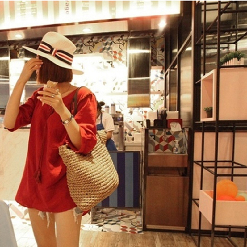 Oversized Straw Beach Bag for Summer 2021 with Leather Strap