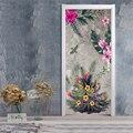 3D Wand Tür Aufkleber Moderne Kunst Grün Aquarell Anlage Blumen Wandmalereien Tür Deacls Wohnzimmer Schlafzimmer Selbst Adhesive Tür poster-in Türaufkleber aus Heim und Garten bei