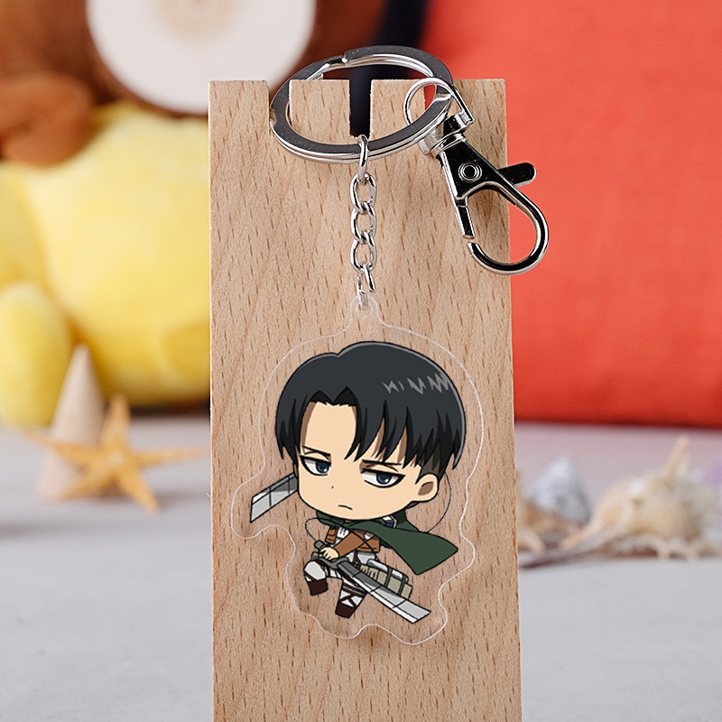 Attack On Titan Keychain Japanese Anime Cartoon Figure Double Side Acrylic Pendant Keyring Fans Gifts