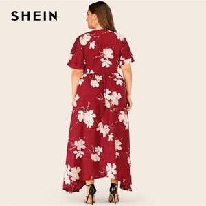 Image 2 - SHEIN Plus Größe Große Floral Druck Geschichtet Hülse Maxi Kleid Frauen Sommer Herbst V ausschnitt Hohe Taille Fit und Flare casual Kleider