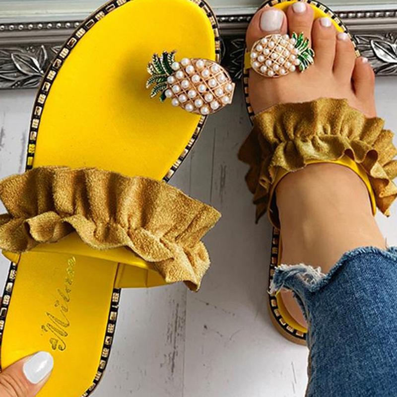 Women Sandals Slippers Shoes Flat Flip Flops String Bead Summer Fashion Wedges Woman Slides Pineapple Lady Casual Mujer