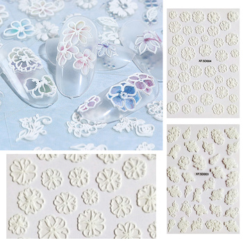 1 Sheet 5D Nail Stickers Embossed Nail Sticker Slice Flower Transfer Sticker Nail Art DIY Design 3D Decoration Nail Art