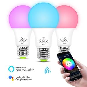 Подсветка умного Wi-Fi лампочка EC27 7 Вт/4,5 Вт беспроводной пульт дистанционного управления RGBW красочный домашний Рождественский свет работа с ...