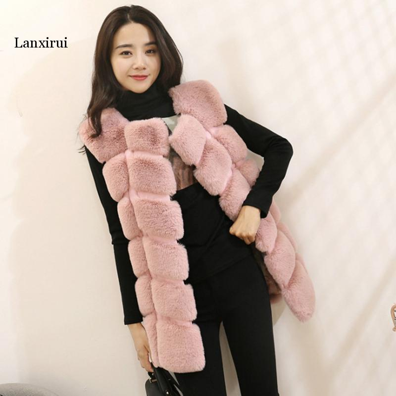 Lanxirui Fashion Faux Fur Vest Women Autumn Winter Sleeveless Jacket Coat Casual Plus Size Warm Fur Coat Outerwear Pink Coats