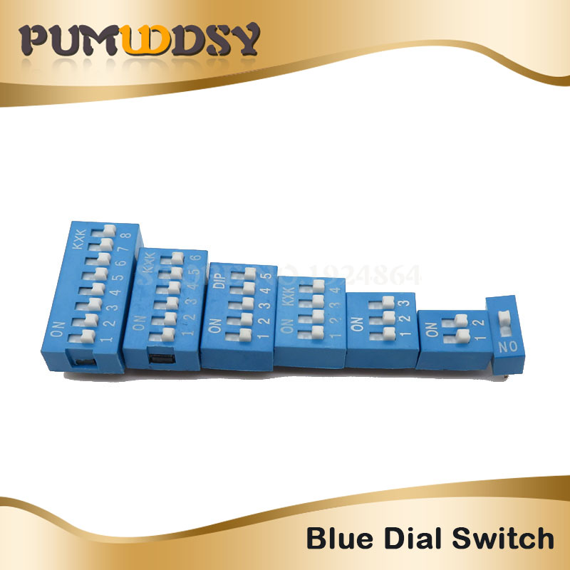 10pcs Slide Type Switch Module 1 2 3 4 <font><b>5</b></font> 6 8 10 <font><b>12</b></font> PIN 2.54mm Position Way DIP Pitch Toggle Switch Blue Snap Switch Dial Switch image