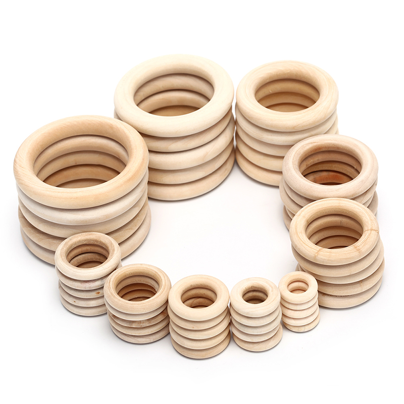5/10/20/50pcs Natural Wood Teething Beads Wooden Ring Children Kids DIY Wooden Jewelry Making Crafts 10 Size