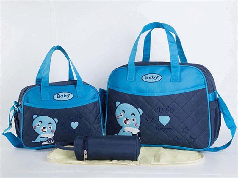 Cartoon Mom Diaper Bag Set for Baby Bottle Holder Mummy Travel Shoulder Bag Handbag Stroller Pram Bag Mummy Nursery Organizer