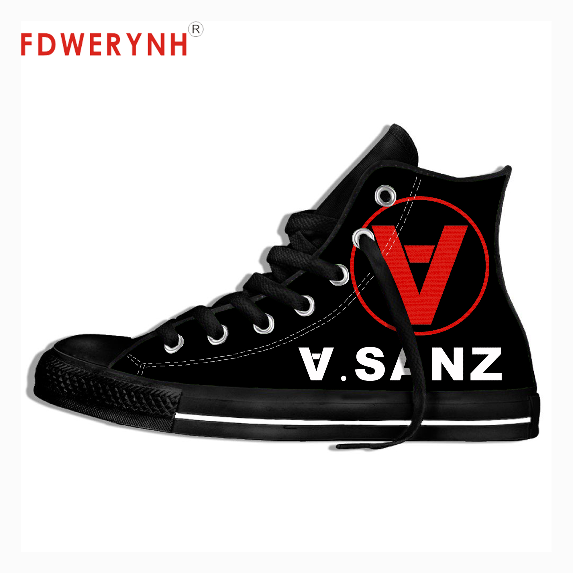 Men's Canvas Casual Shoes ALEJANDRO SANZ Band All Nite Party Official Band Customize Pattern Color Lace-up Leisure Flats Shoe